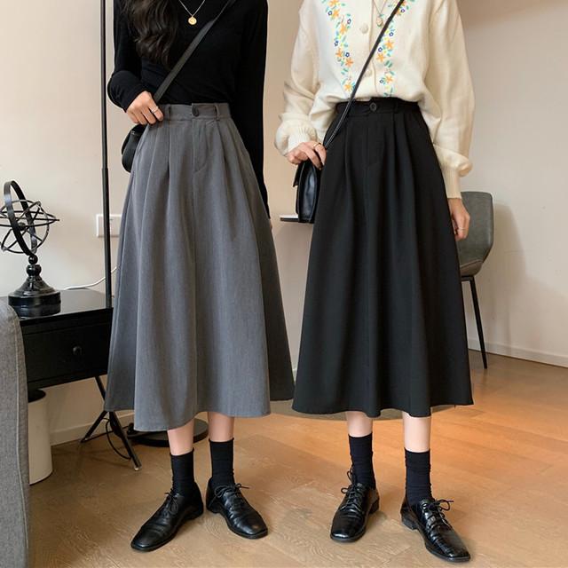 2020AW ボタン付ミモレ丈スカート