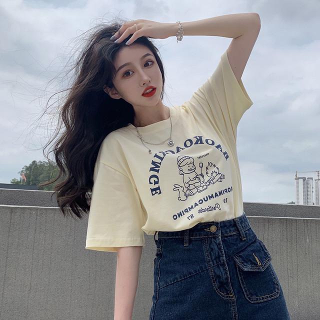 【トップス】韓国系半袖ラウンドネックプルオーバーTシャツ46876209