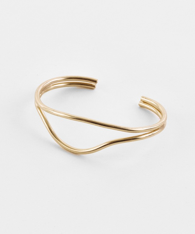 【ANNIKA INEZ / アニカイネズ】DOUBLE INDENTED CUFF Bangle / バングル / 14k gold filled
