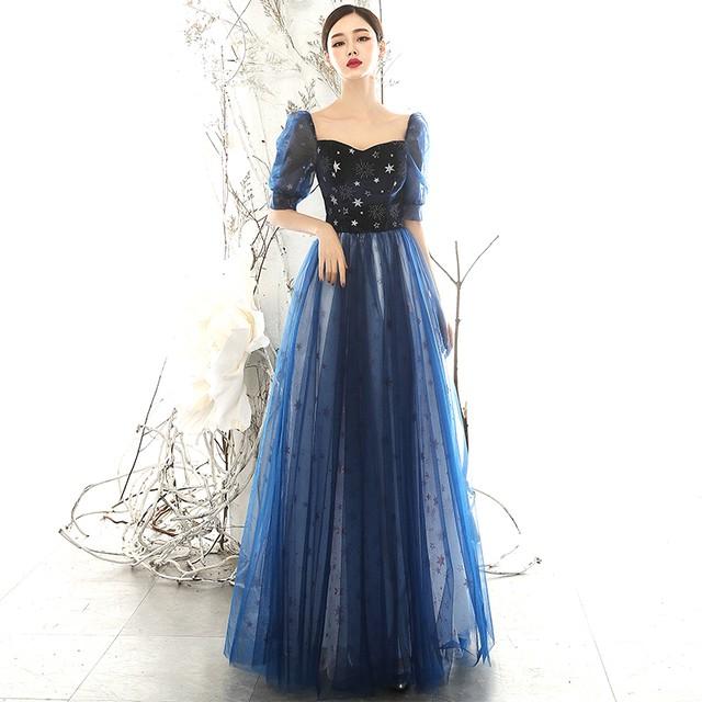 パーティードレス ロング丈ワンピース 女子会 二次会 お呼ばれドレス 発表会 お呼ばれ 大きいサイズ XS S M L LL 3L 星空ドレス 星刺繍入り 青い ブルー