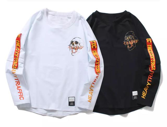 【COOL】スカルデザインロングTシャツ 2カラー