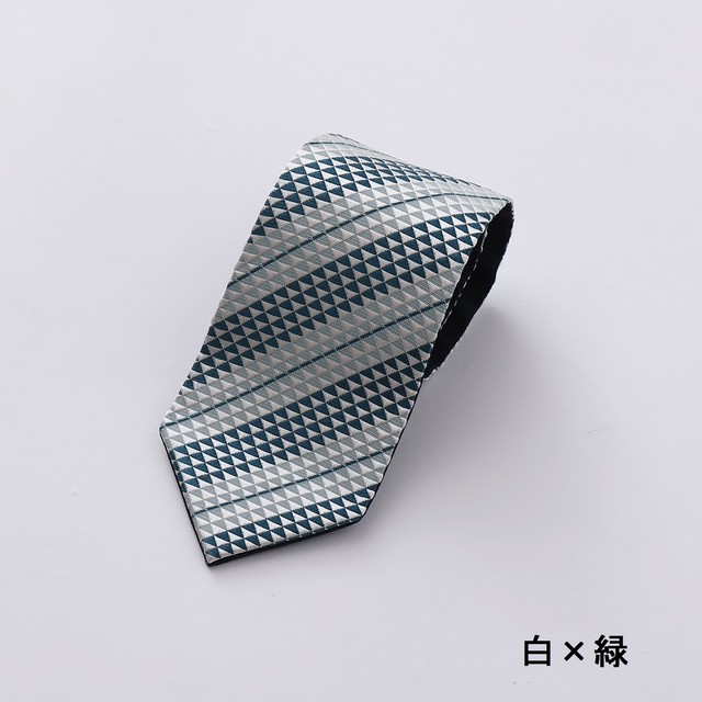 博多織ネクタイ ERIOBI REN UROKO 白 × 緑