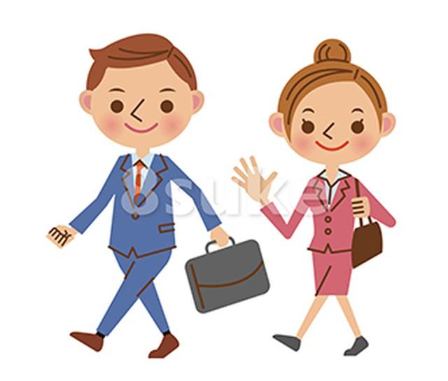 イラスト素材:歩くビジネススタッフ/男女(ベクター・JPG)