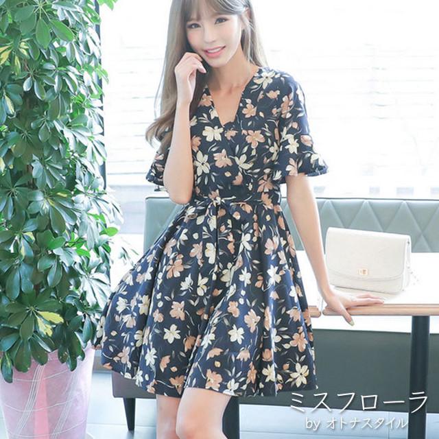 【予約】花柄 七分袖 Vネック 乙女 女子 レディース ミニワンピ ドレス
