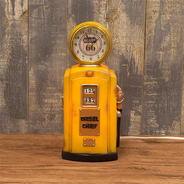 ナイトランプ[ ガスポンプクロック ] ROUTE66 ルート66ライト ランプ 時計