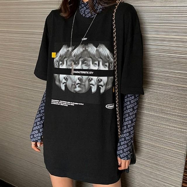 トップス Tシャツ 長袖 半袖 プリント レイヤード ユニーク オルチャンファッション 韓国ファッション