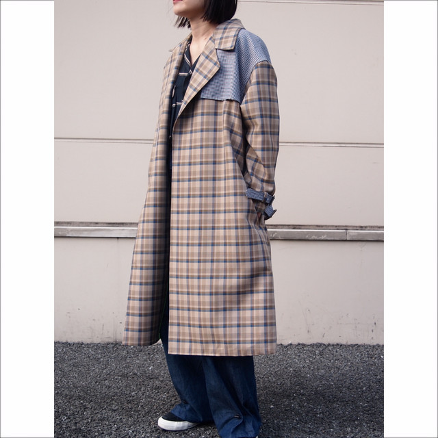 【hippiness】neo classic Check over coat/【ヒッピネス】ネオ クラシック チェック オーバー コート
