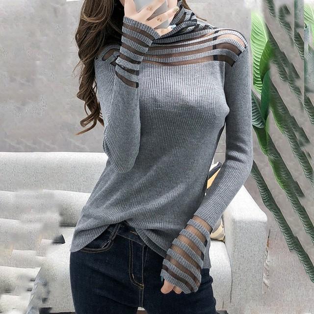 【トップス】セクシー透かし彫り切り替えハイネック合わせやすいセーター38571160