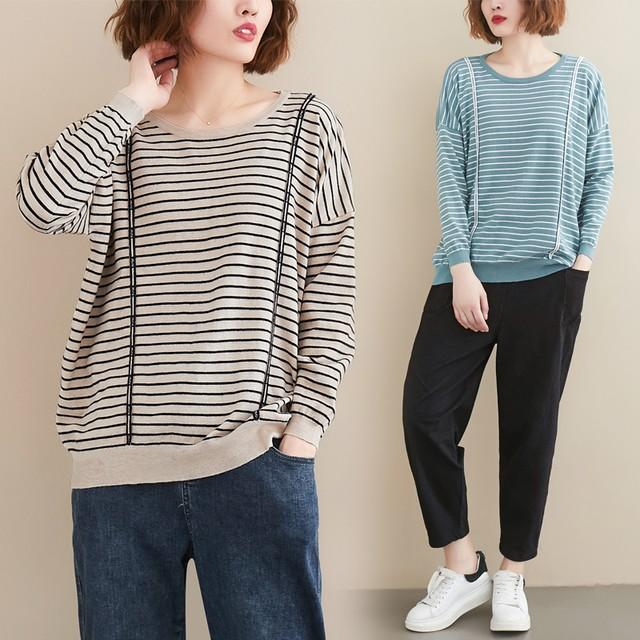 【tops】韓国系長袖着痩せ配色切り替え合わせやすいボーダー柄ニットセーター