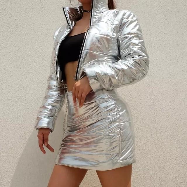 送料無料★メタリック シルバー ジャケット スカート セットアップ