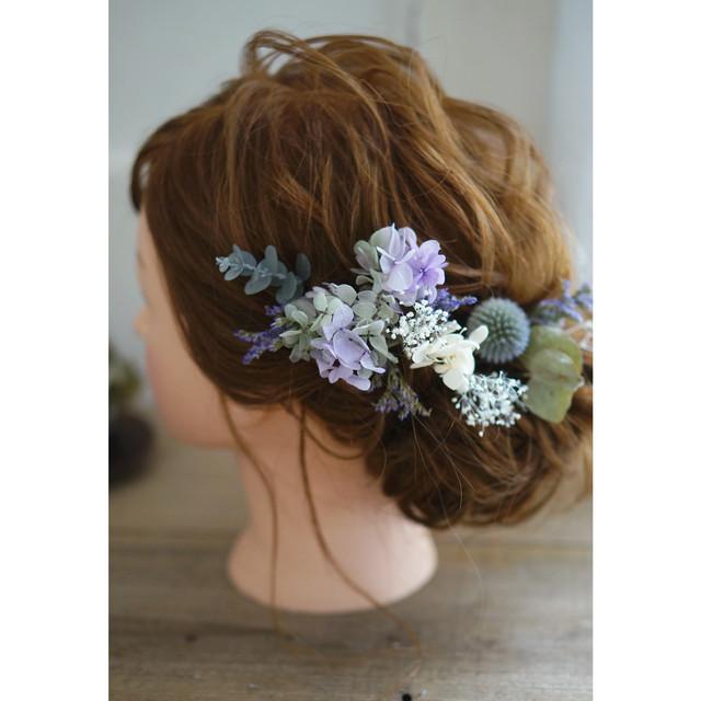 【ヘッドドレス】シックな薄紫アジサイとエリンジウムとピンクベージュのバラ