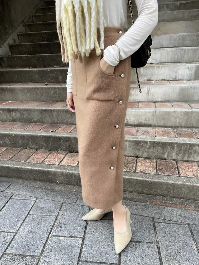 【予約】side button shaggy skirt / moca brown (11月下旬発送予定)