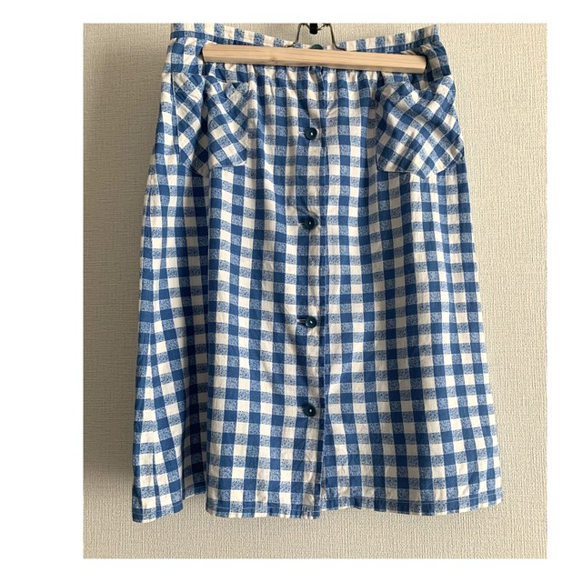 70's vintage front bottoned blue white gingham cotton skirt