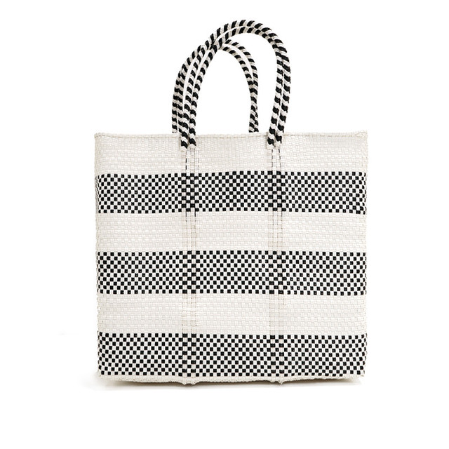 MERCADO BAG BORDER2-White x Black (M)