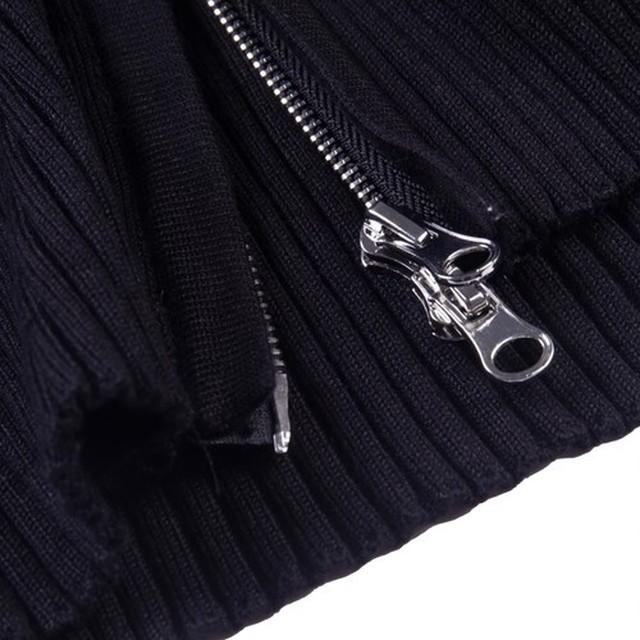 【Cat & Parfum】Cropped Rib Knit Zipper Tops