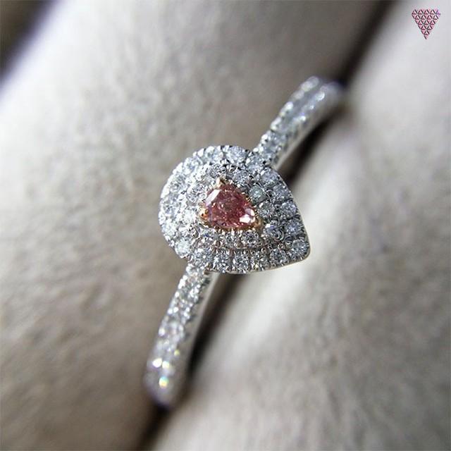 0.042 ct Fancy Intense Pink SI2 CGL 天然 ピンク ダイヤモンド リング