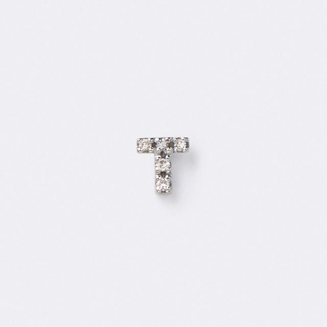 Initial Diamond Pierce K10WG(イニシャルダイヤモンドピアス K10ホワイトゴールド)