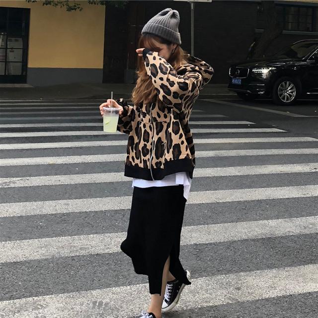 レオパード柄ブルゾン+スリットスカート