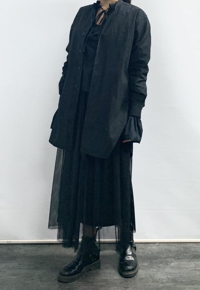 【MASTER & Co. 】マスター&コー スタンドカラーシャツ:ブラック