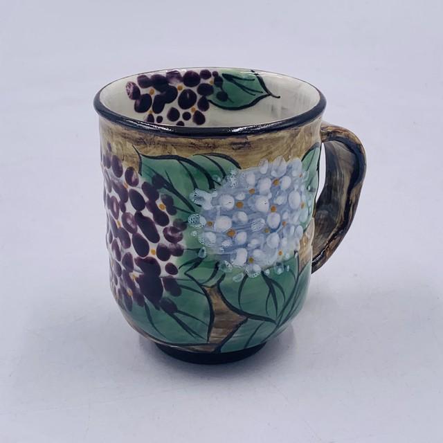 ③K  【陶あん】sale 京焼 清水焼 テツ地 紫陽花 マグカップ*限定1個*