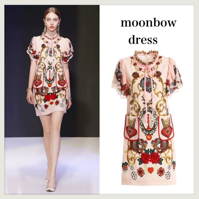 2019Autumn Luxury ★ビジュー付き プリントフリル ワンピース ドレス