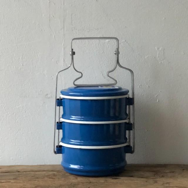 Rabbit Brand(タイ) ホーローのお弁当箱 3段 《ブルー》約20.8cm×約10.5cm