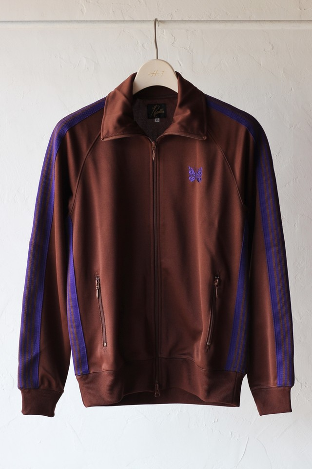【Needles】track jacket poly smooth-brown