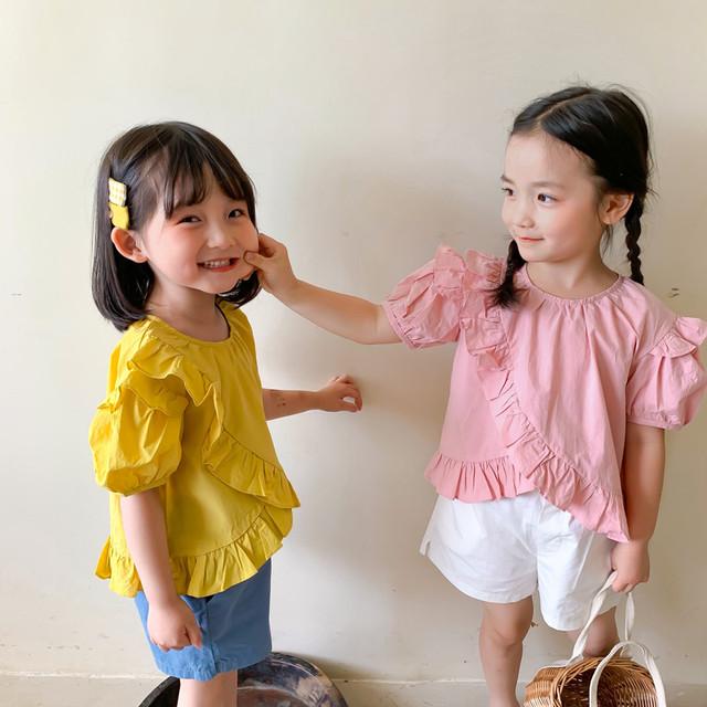 【即納】フリルトップス ベビーカラー 韓国子供服 夏 シンプル