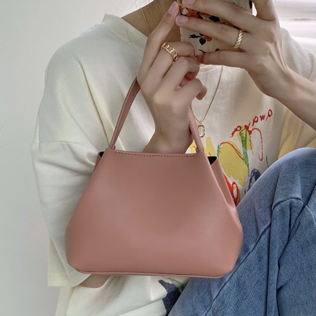 trapezoid leather hand bag 3c's