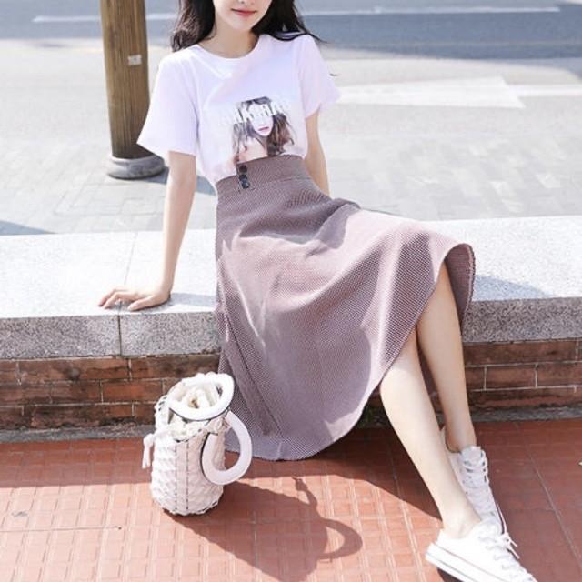 Tシャツ×スカート 2set ワンカラー B0085