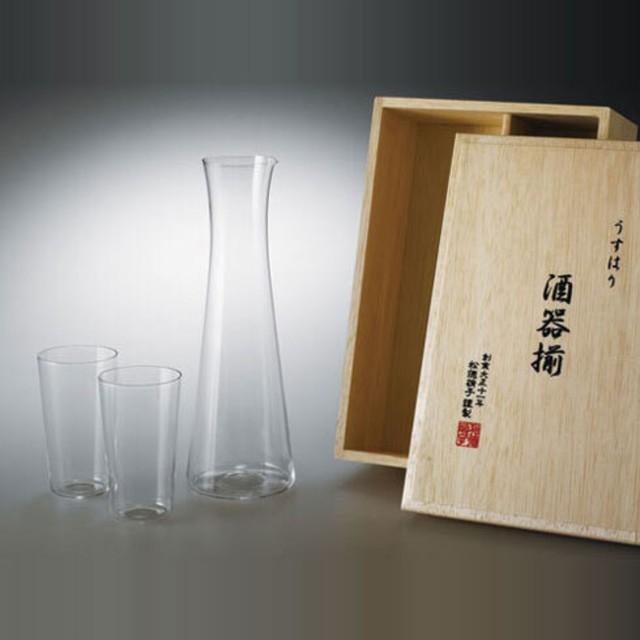 《うすはり》酒器揃木箱入(タンブラーSS×2個、酒注ぎ×1個セット)| 松徳硝子