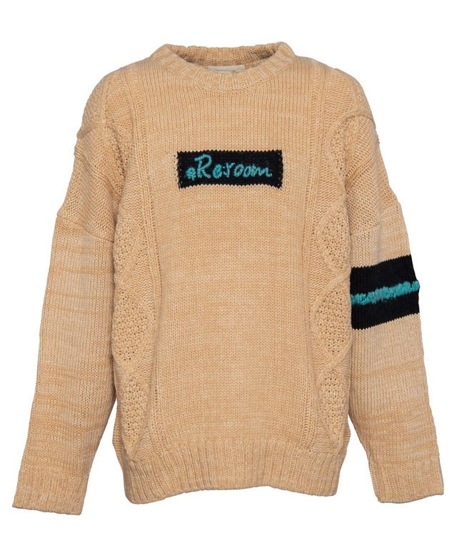 HAND-EMBROIDERY LOGO CABLE KNIT[REK071]