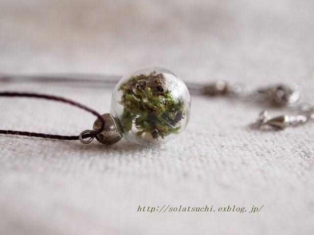 苔のガラスポットネックレス