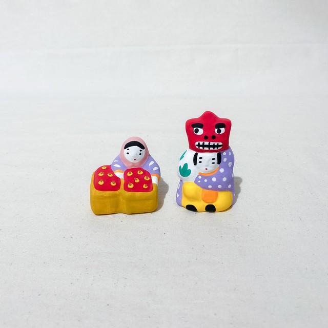 下川原焼土人形 りんご売り|獅子担ぎ