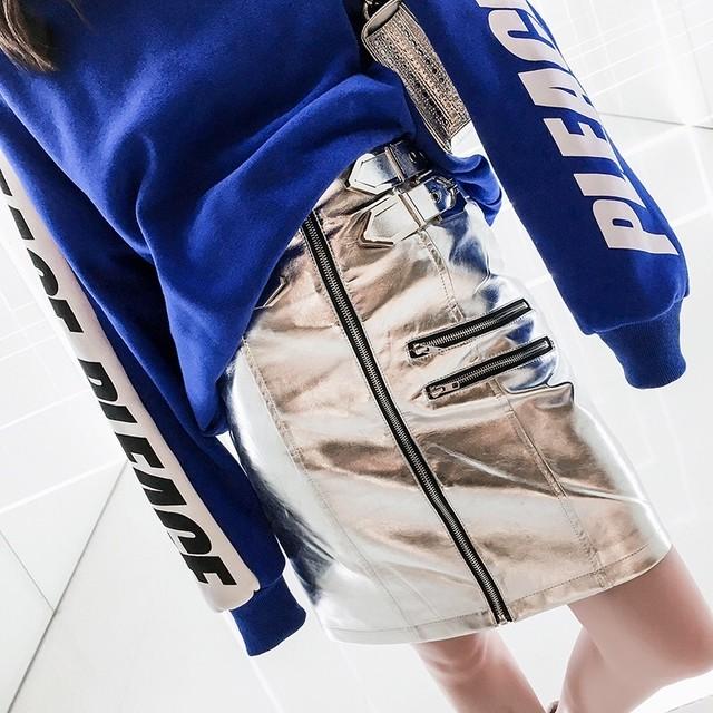 【即納】silver belt skirt