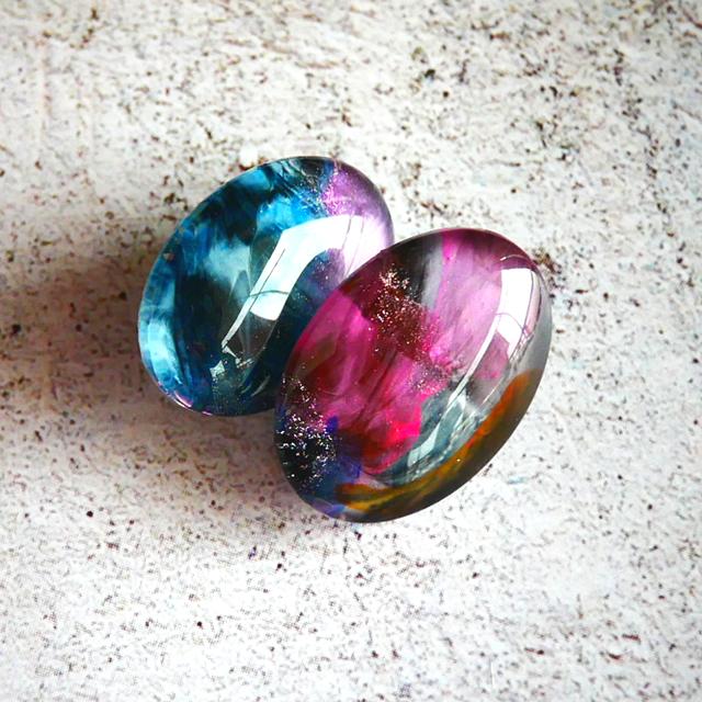 """ Earrings NO.0-1919″ GALAXYオーバル 25×18㎜"