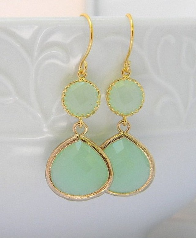 Mint Green Dangle pierced Earring