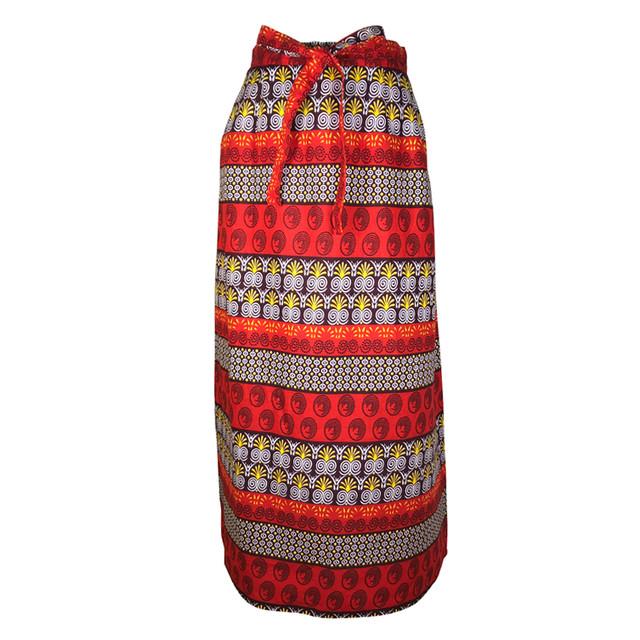Iラインスカート トライバル レッド × ブラウン × イエロー × ホワイト(日本縫製)| アフリカンプリント アフリカンファブリック アフリカンバティック パーニュ キテンゲ アフリカ布 ガーナ布 エスニック ロングスカート エスニック レディース 女性