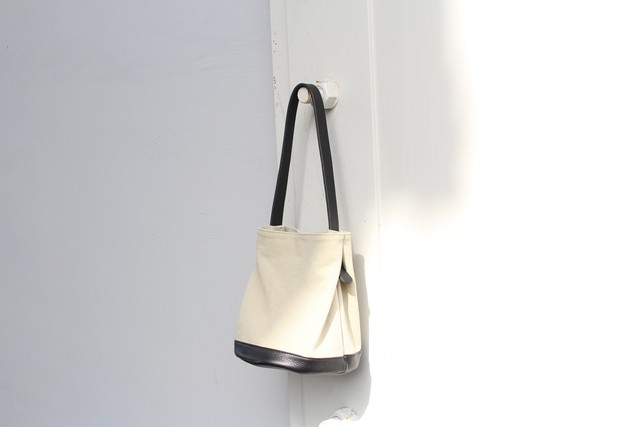C Bag - 帆布.革 切り替え -