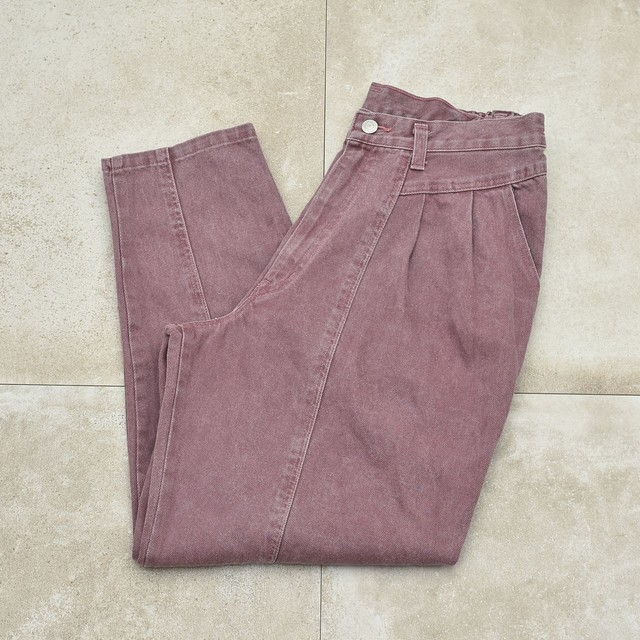 Dull color wide silhouette tapered pants