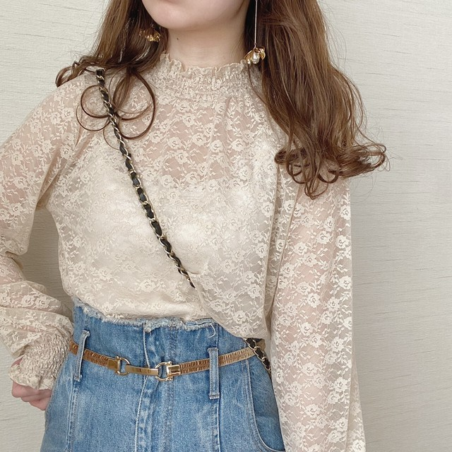 girly lace blouse[3/17n-10]