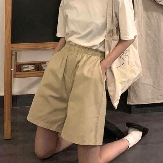 【送料無料】楽ちんショートパンツ♡パンツ ショートパンツ ウエストゴム 着まわし 学生 ゆるカジ シンプル ハーフパンツ