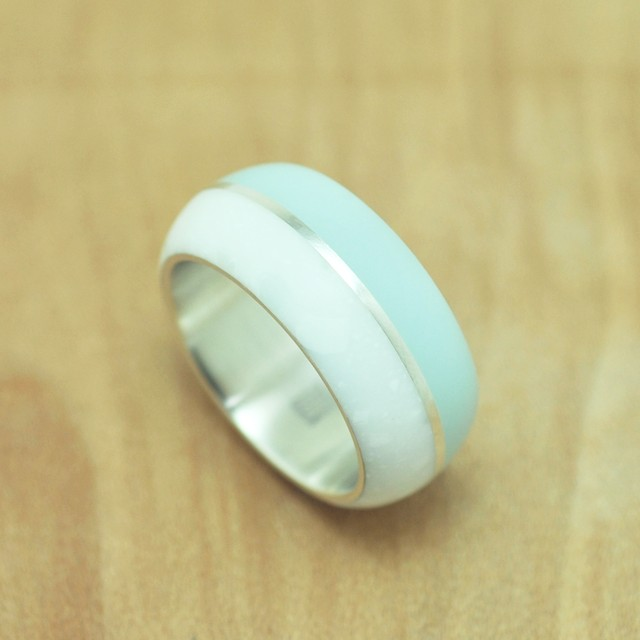 Birth room ring #11 / color Iceblue&Whitemarble / Resin Silver