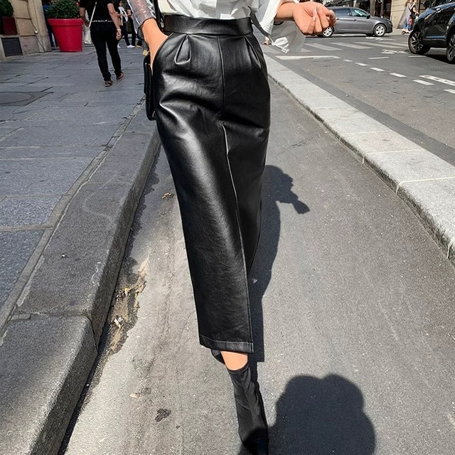 cut leather long skirt
