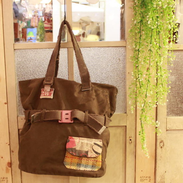 CATHERINE PARRA Spain SAC AUTOINTTE VINTAGE ミリタリーファブリックリメイクトートバッグ カーキ