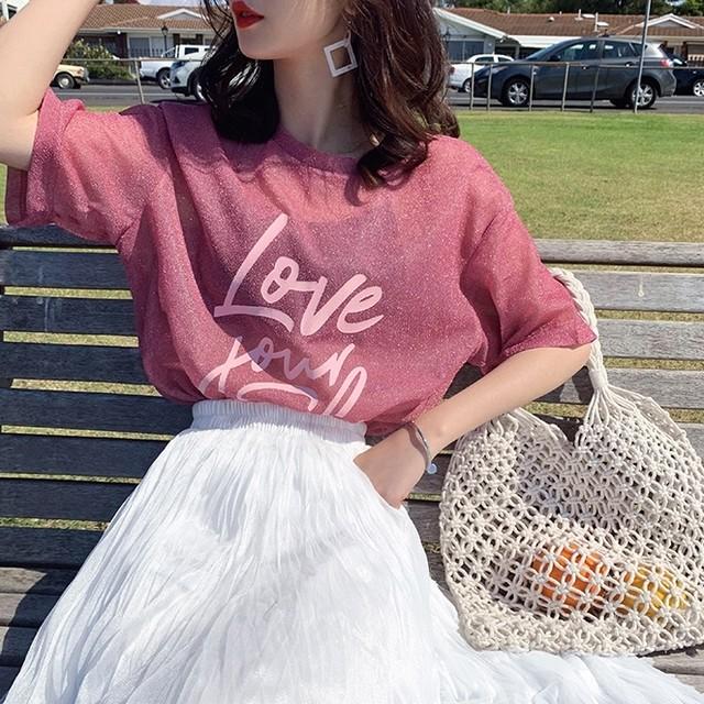 ラメロゴTシャツ A1083