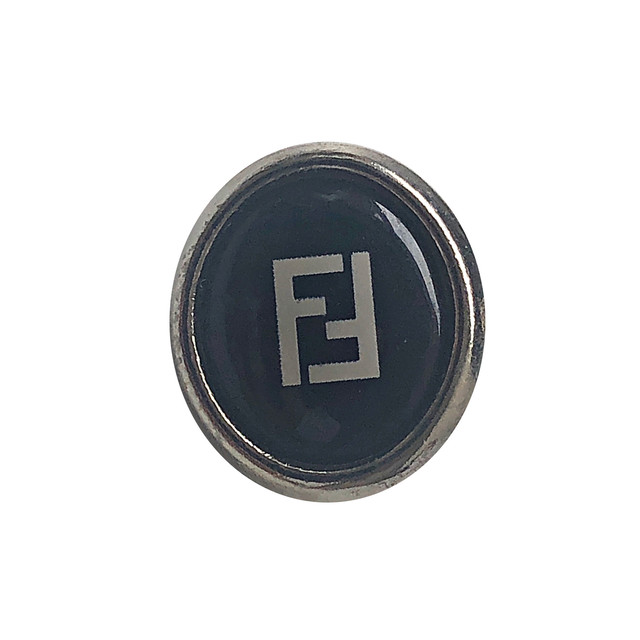 【VINTAGE FENDI BUTTON】Ellipse ブラック ボタン