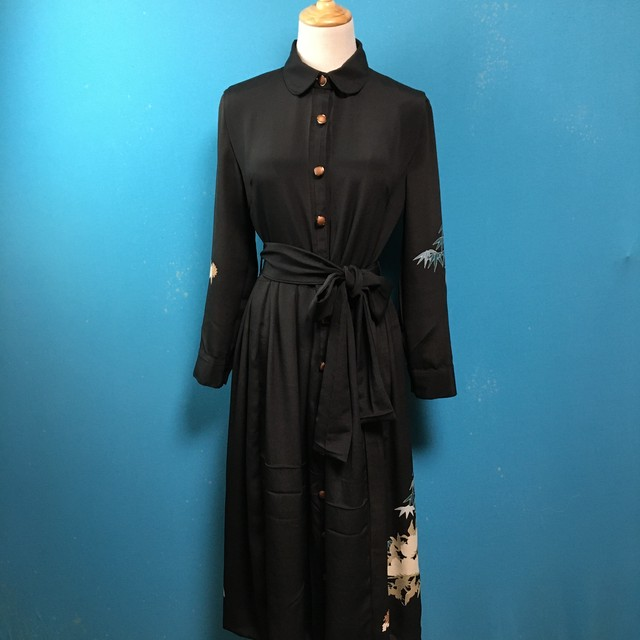 Vintage black kimono dress/ US 6/ round collar