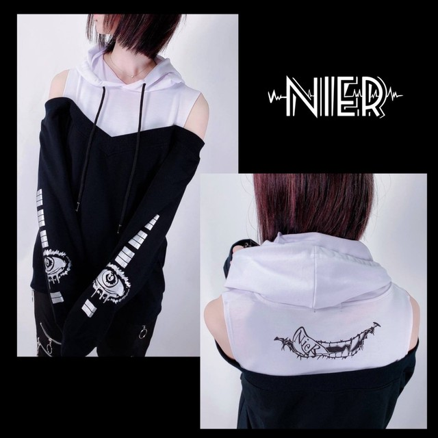 OFF-SHOULDER LAYERED PARKA【HIDE FACE】