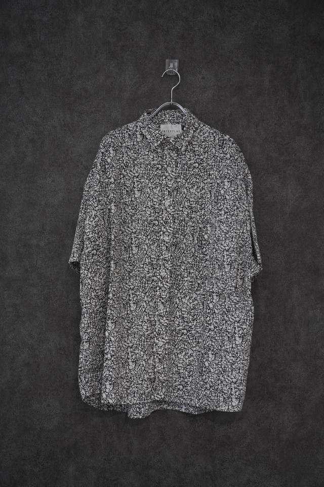 【INTERPLAY】Open Collar S/S Over size Shirt -Stone Marble- (UNISEX)